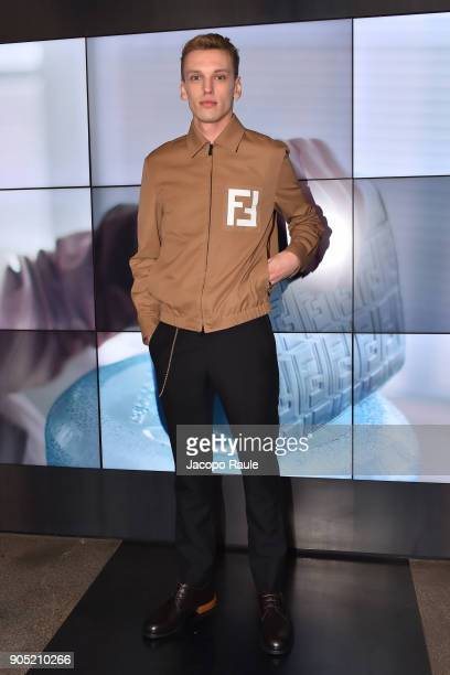 Jamie Campbell Bower attends the Fendi show during Milan Men's Fashion Week Fall/Winter 2018/19 on January 15 2018 in Milan Italy