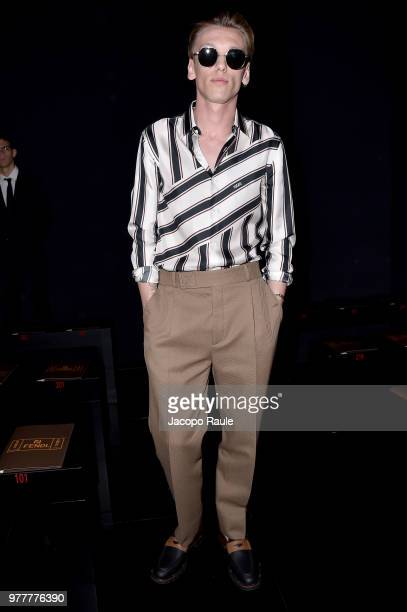 Jamie Campbell Bower attends the Fendi show during Milan Men's Fashion Week Spring/Summer 2019 on June 18 2018 in Milan Italy