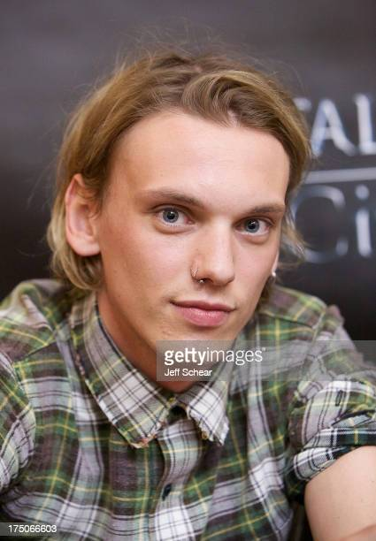Jamie Campbell Bower attends 'The Mortal Instruments City of Bones' mall tour stop at Chicago Ridge Mall on July 30 2013 in Chicago Ridge Illinois