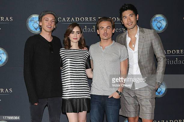 Jamie Campbell Bower Lily Collins Kevin Zegers and Godfrey Gao attend The Mortal Instruments City of Bones Mexico City photocall at St Regis Hotel on...