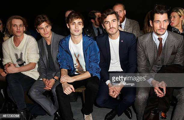 Jamie Campbell Bower Oliver Cheshire Douglas Booth a guest and David Gandy attend the Coach presentation at the London Collections Men AW15 at on...