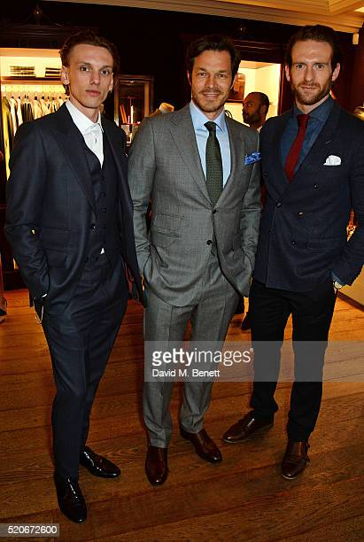 Jamie Campbell Bower Paul Sculfor and Craig Mcginlay attend PORT Magazine's 5th anniversary dinner with dunhill London at at Alfred Dunhill Bourdon...