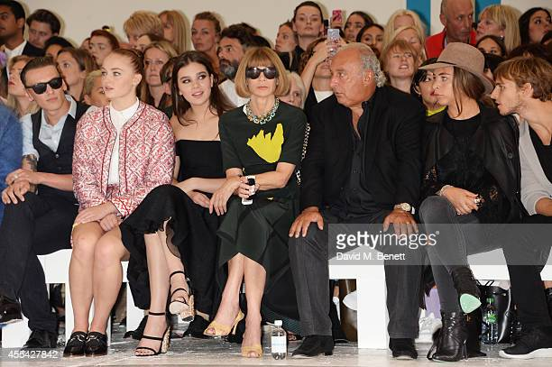Jamie Campbell Bower Sophie Turner Hailee Steinfeld Anna Wintour Sir Philip Green Chloe Green and Brandon Green attend the Topshop Unique SS15 Front...