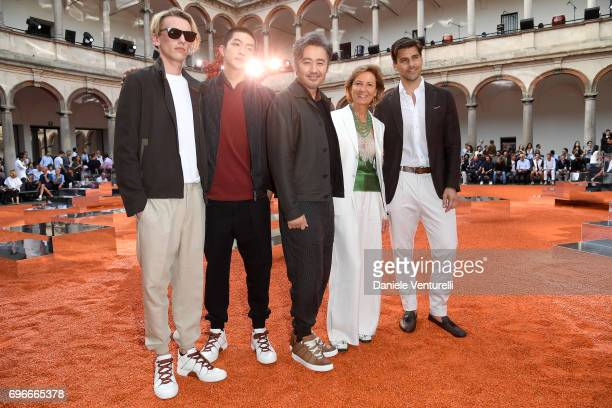 Jamie Campbell BowerQu Chuxiao Wu Xiubo Anna Zegna and Johannes Huebl attend the Ermenegildo Zegna show during Milan Men's Fashion Week Spring/Summer...