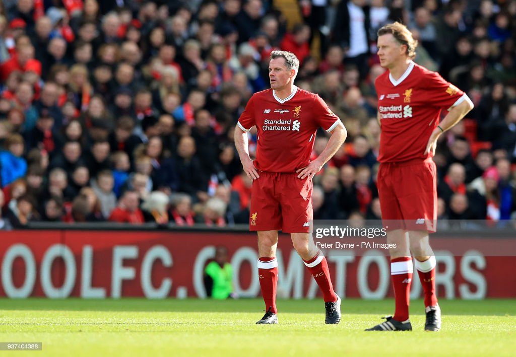 Bayern Liverpool Detail: Jamie Carragher And Steve McManaman During The Legends