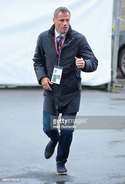 Jamie Carragher arrives at the ground during the Premier League match between Burnley and Liverpool at Turf Moor on August 20 2016 in Burnley England