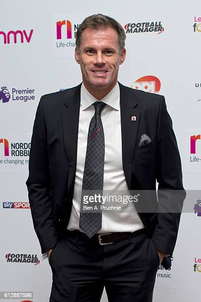 Jamie Carragher attends the 21st Legends of football event to celebrate 25 seasons of the Premier League and raise money for music therapy charity...