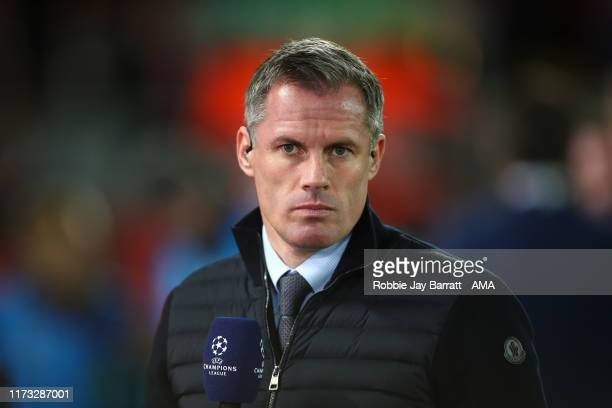Jamie Carragher during the UEFA Champions League group E match between Liverpool FC and RB Salzburg at Anfield on October 2, 2019 in Liverpool,...
