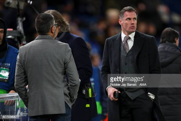 Jamie Carragher during the UEFA Champions League Round of 16 First Leg match between Chelsea FC and FC Barcelona at Stamford Bridge on February 20...