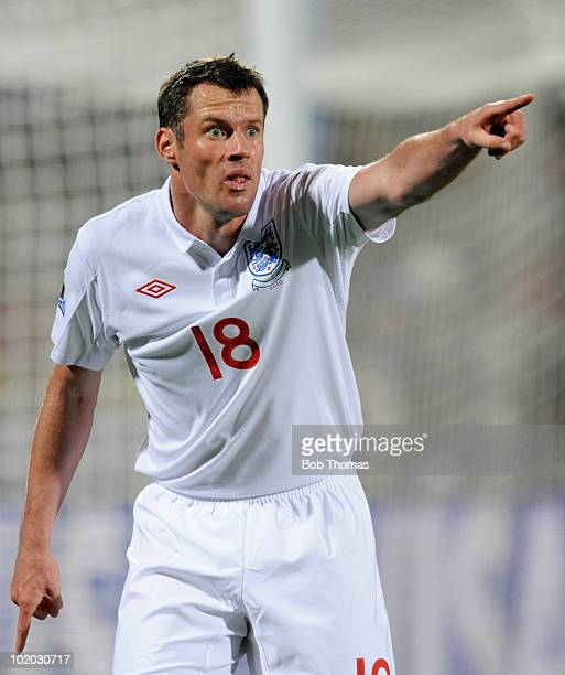 Jamie Carragher of England during the 2010 FIFA World Cup South Africa Group C match between England and USA at the Royal Bafokeng Stadium on June 12...