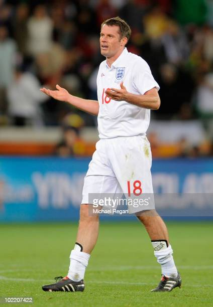 Jamie Carragher of England gestures in frustration during the 2010 FIFA World Cup South Africa Group C match between England and Algeria at Green...