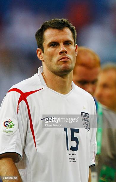 Jamie Carragher of England looks dejected following their defeat in the FIFA World Cup Germany 2006 Quarterfinal match between England and Portugal...