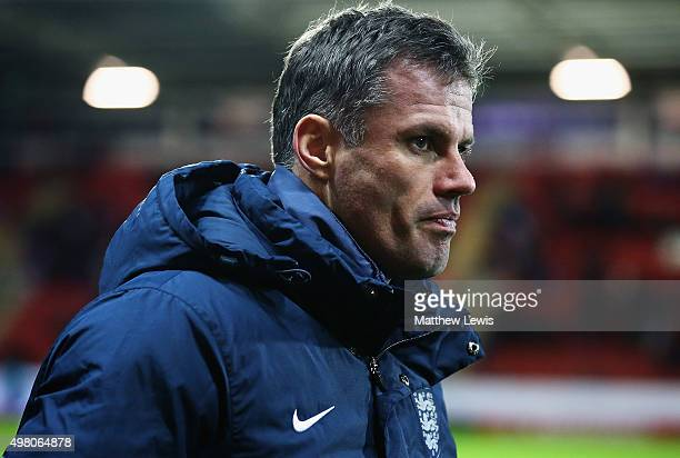 Jamie Carragher of England looks on during the International U17 Friendly match between England U17 and Germany U17 at the New York Stadium on...