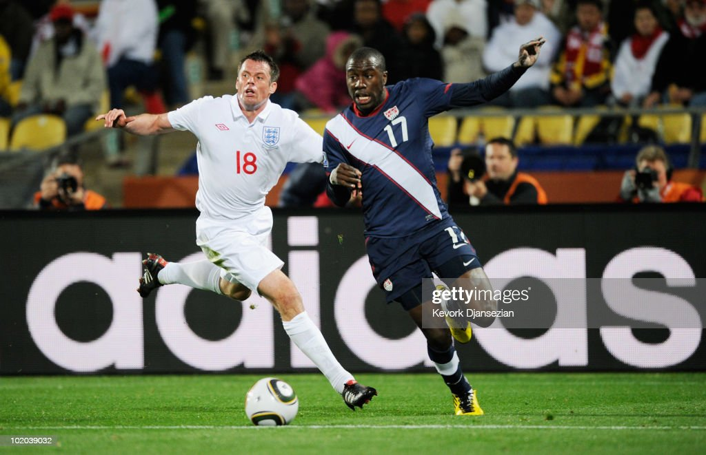 Jamie Carragher #18 of England pursues Jozy Altidore #17 of the United States during the 2010 FIFA World Cup South Africa Group C match between England and USA at the Royal Bafokeng Stadium on June 12, 2010 in Rustenburg, South Africa.