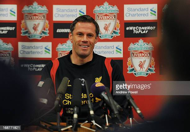 Jamie Carragher of Liverpool attends a press conference at Melwood Training Ground on May 15 2013 in Liverpool England