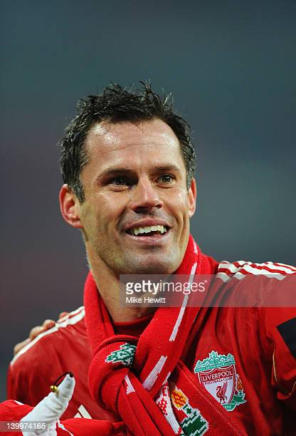 Jamie Carragher of Liverpool celebrates victory after the Carling Cup Final match between Liverpool and Cardiff City at Wembley Stadium on February...