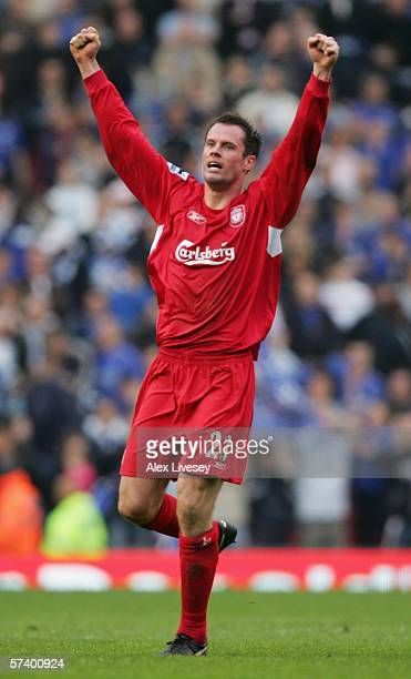 Jamie Carragher of Liverpool celebrates victory following the FA Cup SemiFinal match between Chelsea and Liverpool at Old Trafford on April 22 2006...