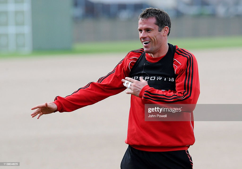 Jamie Carragher of Liverpool in action during a Liverpool training session at Melwood Training Ground on May 6, 2011 in Liverpool, England.