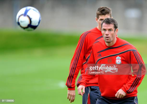 Jamie Carragher of Liverpool in action during a training session at Melwood on September 25 2009 in Liverpool England