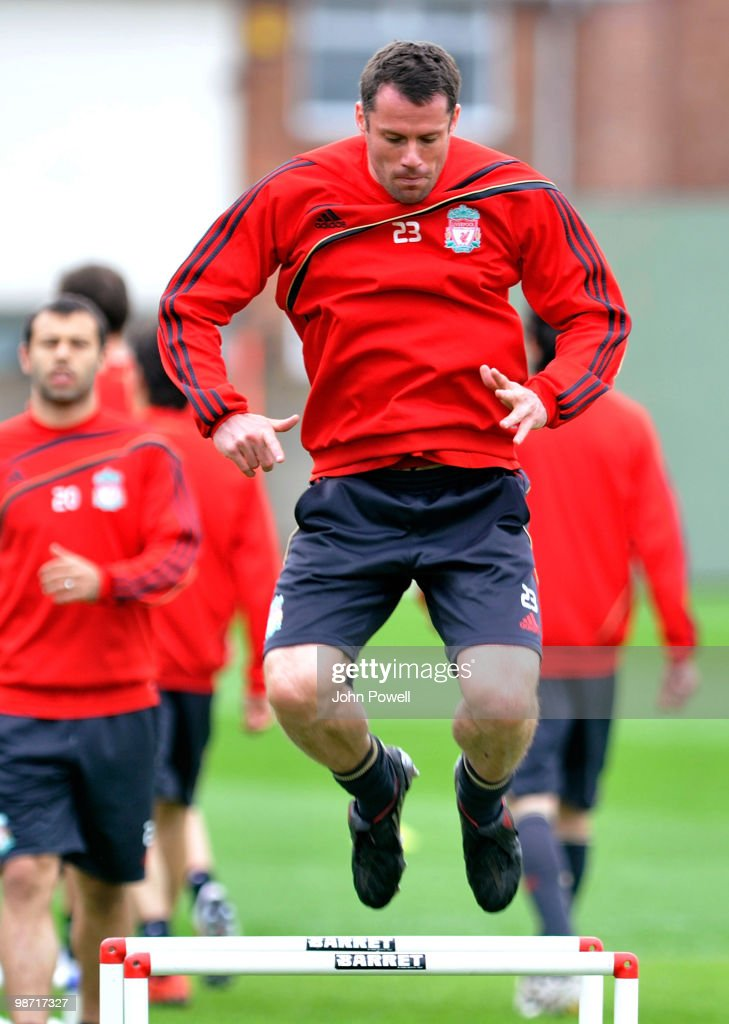 Jamie Carragher of Liverpool in action during a training session prior to their UEFA Europa League semi-final, second leg match against Athletico Madrid, at Melwood Training Ground, on April 28, 2010 in Liverpool, England.
