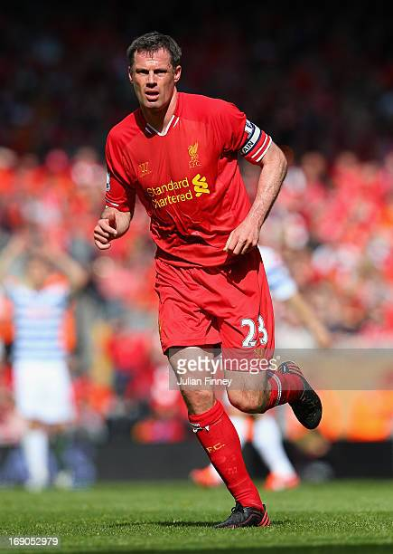 Jamie Carragher of Liverpool in action during the Barclays Premier League match between Liverpool and Queens Park Rangers at Anfield on May 19 2013...