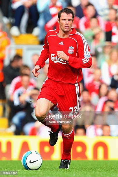 Jamie Carragher of Liverpool in action during the Barclays Premier League match between Liverpool and Birmingham City at Anfield on September 22,...
