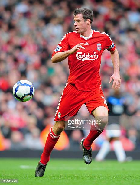 Jamie Carragher of Liverpool in action during the Barclays Premier League match between Liverpool and Manchester United at Anfield on October 25 2009...
