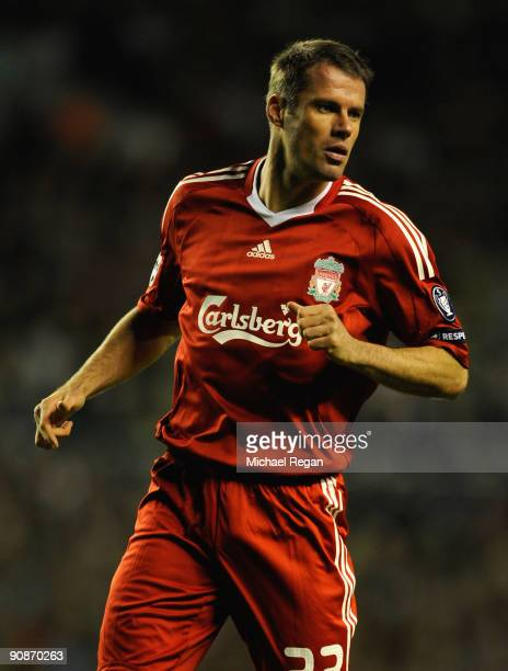 Jamie Carragher of Liverpool in action during the UEFA Champions League Group E match between Liverpool and Debrecen VSC at Anfield on September 16...
