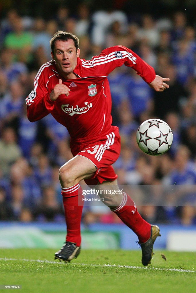 Jamie Carragher of Liverpool in action during the UEFA Champions League semi final, first leg match between Chelsea and Liverpool at Stamford Bridge on April 25, 2007 in London, England.