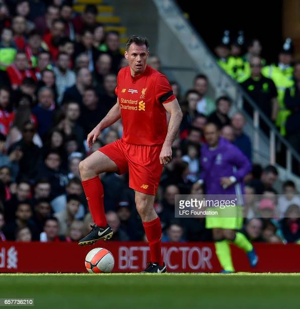 Jamie Carragher of Liverpool Legends during the LFC Foundation Charity Match between Liverpool Legends and Real Madrid Legends at Anfield on March 25...