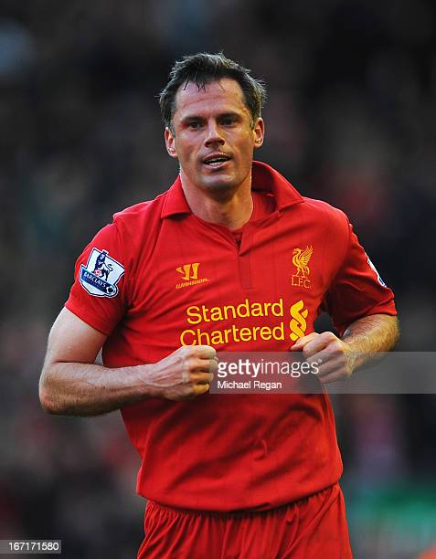 Jamie Carragher of Liverpool looks on during the Barclays Premier League match between Liverpool and Chelsea at Anfield on April 21 2013 in Liverpool...