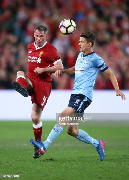 Jamie Carragher of Liverpool passes the ball during the International Friendly match between Sydney FC and Liverpool FC at ANZ Stadium on May 24 2017...