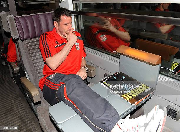 Jamie Carragher of Liverpool travels on the Eurostar from London to Paris on April 20 2010 Liverpool FC head to the Spanish capital for their UEFA...