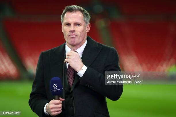 Jamie Carragher preparing to be a pundit during the UEFA Champions League Round of 16 First Leg match between Tottenham Hotspur and Borussia Dortmund...