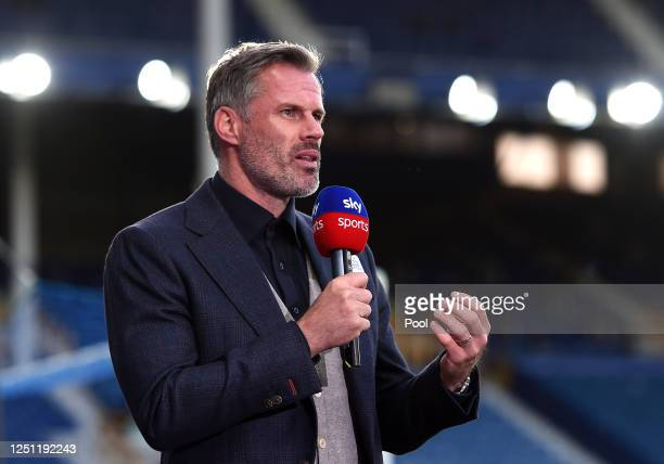 Jamie Carragher speaks for Sky Sports after the Premier League match between Everton FC and Liverpool FC at Goodison Park on June 21, 2020 in...