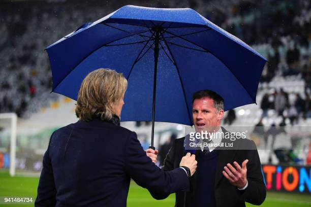 Jamie Carragher speaks to the media ahead of the UEFA Champions League Quarter Final first Leg match between Juventus and Real Madrid at Juventus...