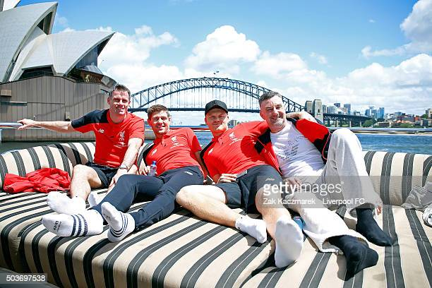 Jamie Carragher Steven Gerrard John Arne Riise and John Aldridge see the sights during a cruise through Sydney Harbour on January 7 2016 in Sydney...
