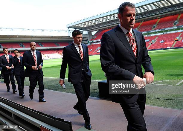 Jamie Carragher Steven Gerrard Pepe Reina Yossi Benayoun and Daniel Ayala of Liverpool arrive for a memorial ceremony at Anfield on April 15 2010 in...