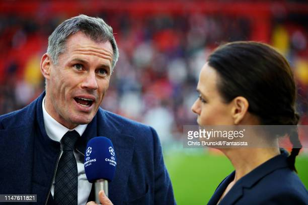 Jamie Carragher talks to the media before the UEFA Champions League Semi Final second leg match between Liverpool and Barcelona at Anfield on May 07...