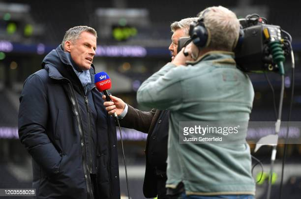 Jamie Carragher, TV pundit is interviewed pitch side prior to the Premier League match between Tottenham Hotspur and Manchester City at Tottenham...