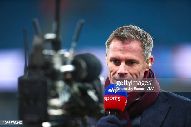 Jamie Carragher working for Sky Sports before the Premier League match between Manchester City and Liverpool FC at Etihad Stadium on January 3 2019...