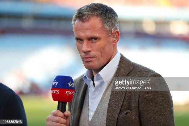 Jamie Carragher working for Sky Sports during the Premier League match between Aston Villa and Everton FC at Villa Park on August 23, 2019 in...