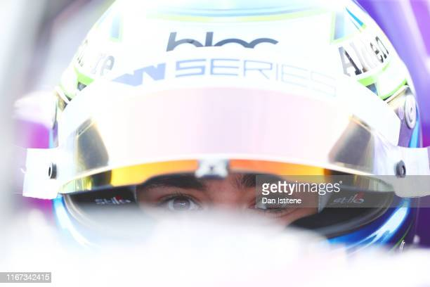 Jamie Chadwick of Great Britain sits in her a Tatuus F3 T-318 as she prepares before qualifying for the W Series round six and final race of the...