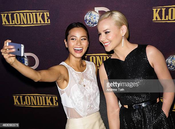 Jamie Chung and actress Abbie Cornish attend the 'Klondike' series premiere at Best Buy Theater on January 16 2014 in New York City