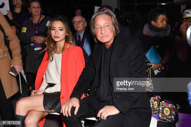 Jamie Chung and Mohamed Hadid attend Anna Sui Front Row February 2018 New York Fashion Week at Spring Studios on February 12 2018 in New York City