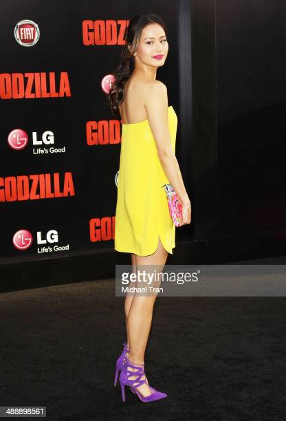 Jamie Chung arrives at the Los Angeles premiere of 'Godzilla' held at Dolby Theatre on May 8 2014 in Hollywood California