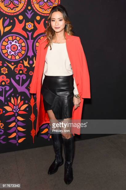 Jamie Chung attends Anna Sui Front Row February 2018 New York Fashion Week at Spring Studios on February 12 2018 in New York City