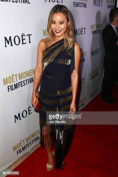Jamie Chung attends Moet Chandon celebrates the 3rd annual Moet Moment Film Festival and kicks off Golden Globes week at Poppy on January 5 2018 in...