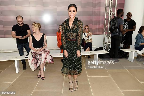 Jamie Chung attends the Monique Lhuillier fashion show during New York Fashion Week September 2016 at The IAC Building on September 13 2016 in New...