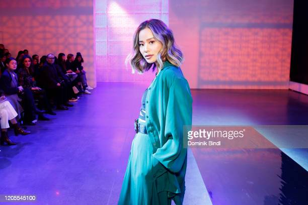 Jamie Chung attends the Noon By Noor Front Row during New York Fashion Week The Shows at Gallery II at Spring Studios on February 11 2020 in New York...